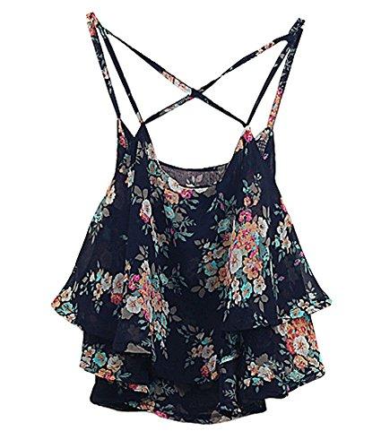 Shawhuaa Womens Flowy Vintage Floral Print Chiffon Shirt Vest Strap Top Black