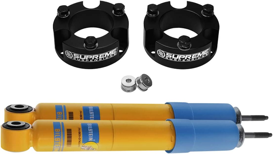 Silver Supreme Suspensions Front Leveling Kit for 2005-2020 Nissan Frontier and 2005-2015 Nissan Xterra 2 Front Lift Aircraft Billet Strut Spacers Kit 2WD 4WD