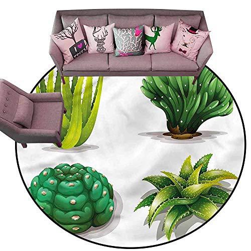 Anti-Slip Coffee Table Floor Mats Succulent,Aloe Vera Plants Cacti Diameter 60