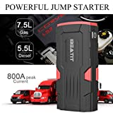 Beatit D11 QDSP 800Amp 18000mAh Peak 12V Car Jump Starter (Up to 7.5L Gas and 5.5L Diesel) Portable Power Bank Auto Battery Booster with Intelligent Jumper Cables