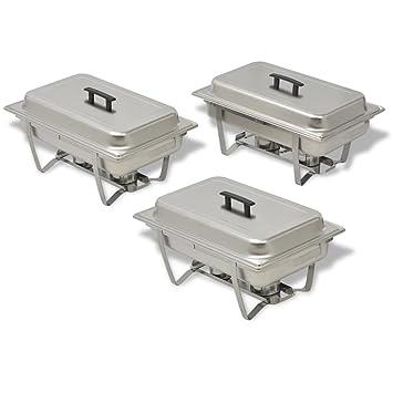 Festnight 3 Piezas Calentador de Comida para Buffet Sartenes de Agua y de Comida Acero Inoxidable: Amazon.es: Electrónica