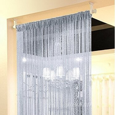 Duosuny 39x78 Inch Door String Curtain Rare Flat Silver Ribbon Thread Fringe Window Panel Room Divider Cute Strip Tassel for Wedding Coffee House Restaurant Parts (Silvery-Gray 2pcs) by Duosuny