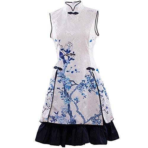 Partiss Damen Stehkragen Stickerei Stoffdruck Chinesische Multi Layer Lolita Kleid Cocktailkleid Chinoiserie Teeparty Kleid #2