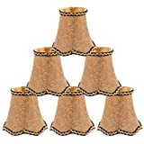 uxcell Chandelier Wall Ceiling Clip on Lamp Shades Light Cover 3x5.3x4.7 Inch, Set of 6 Gold Tone