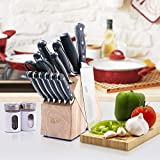 GLAD GLD-79070 Kitchen 14 pc Pro Pakka Series Knife Set, Includes Shear, Sharpening Tool & Block | High Carbon Stainless Steel with Satin Finish, One Size
