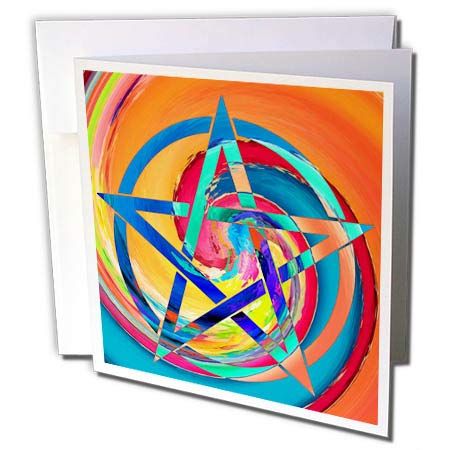 (3dRose Cassie Peters Wicca - Pentagram Colorful Twirl - 1 Greeting Card with Envelope (gc_292666_5) )