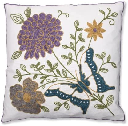 Pillow Perfect Butterfly Floral Embroidered Throw Pillow, 18-Inch, Purple