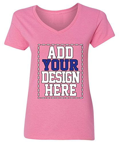 Custom V Neck T Shirts for Women - Make Your OWN Shirt - Add Your Design Picture Photo Text Printing -
