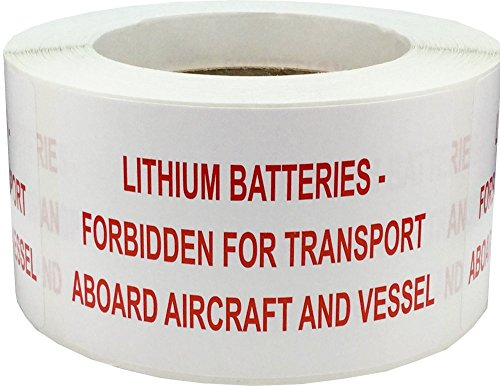 Lithium Batteries Forbidden Aboard Aircraft And Vessel Labels 2 1/2 x 4 Inch Rectangle 500 Adhesive Stickers