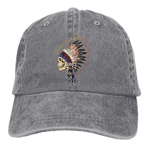 Grateful Dead Visor - DADAJINN Grateful Dead Indian Adjustable Camper Cotton Washed Denim Hat Gray