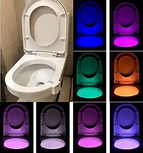 Toilette Nachtlicht Led Lampe WC-Beleuchtung Batteriebetriebene Motion Sensor Beleuchtung Toilettenlicht Badezimmer Licht Batterie 16 Farben Wechselnde