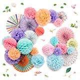 PapaKit Deluxe Origami Large Wall Decoration Set (26 Assorted Paper Fans & Pom-poms) Birthday Party Baby Shower Wedding Events Decor | Creative Art Design Pattern (Festive Colors, Deluxe 26 Piece Set)