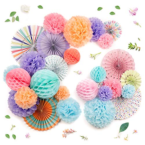 (PapaKit Deluxe Origami Large Wall Decoration Set (26 Assorted Paper Fans & Pom-poms) Birthday Party Baby Shower Wedding Events Decor | Creative Art Design Pattern (Festive Colors, Deluxe 26 Piece Set))