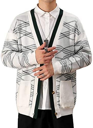 カーディガン メンズ ボーダー Ⅴネック ニット セーター 綿 暖かい 長袖 フロントボタン サイドポケット シンプル 羽織 カジュアル 大きいサイズ 春 秋 冬