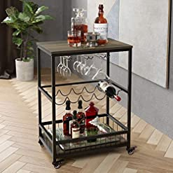 Home Bar Cabinetry HOMECHO Bar Carts for Home, Mobile Wine Cart on Wheels, Wine Rack Table with Glass Holder, Utility Kitchen Serving Cart… home bar cabinetry