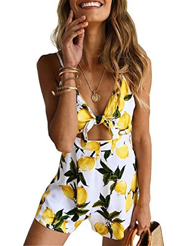 - Famulily Women's Cute Summer Beach Printed Spaghetti Strap Short Jumpsuit Romper Yellow S