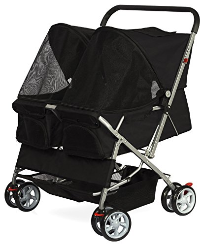 Double Dog Stroller – Pet Strollers for Small Medium Dogs Cats Two Doggy Puppy or 2 Kitty Cat Carriage Buggy – Fold-able Animal Pets Doggie Cart Carriages, Black