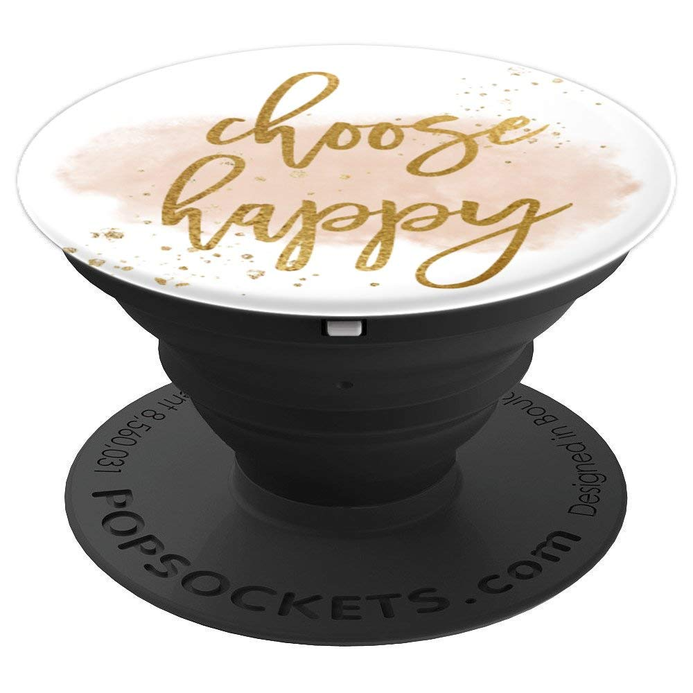 Choose Happy Quote Pretty Script Gold Dust Pop Socket - PopSockets Grip and Stand for Phones and Tablets