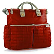 Diaper Bag- by Maman - with Matching Changing Pad - Stylish Designer Tote for Moms - for Baby Boys and Girls - PATENT PENDING (Red)