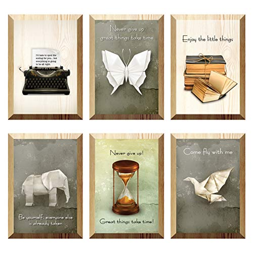 The Nisha Inspirational WallArt Pictures Art Magic 3D Vinyl Removable Wooden Wall Sticker Decals DIY, Set of 6, Come fly with me 190