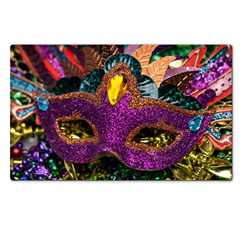 Luxlady Natural Rubber Large TableMat Image ID 26111610 Close up view of purple sequined Mardi Gras mask with colorful beads out focus in the (Carnavale Costumes)
