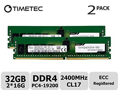 System Ecc Memory (Timetec Hynix 32GB Kit (2x16GB) DDR4 2400MHz PC4-19200 Registered ECC 1.2V CL17 2Rx8 Dual Rank 288 Pin RDIMM Server Memory RAM Module Upgrade (32GB Kit (2x16GB)))