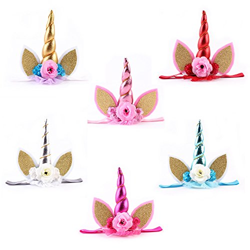 Unicorn Headband Unicorn Birthday Rose Flower Headband Unicorn Party Halloween Christmas Animal Ears ruiqi