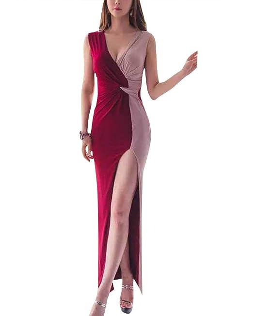 Mujer Falda Elegante Boda Playa Fiesta Noche Cóctel Sin Mangas Largo Vestido Rojo L