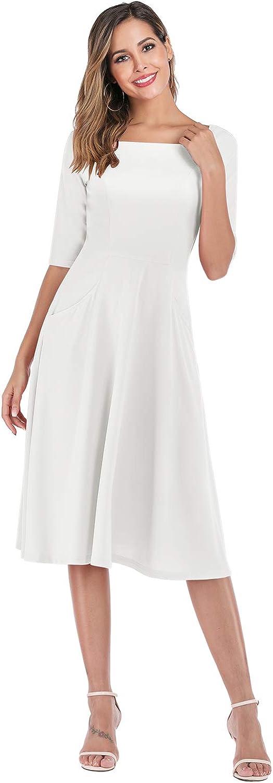 Gardenwed Vintage Cocktail Dresses Elegant Bridesmaid Dresses 3//4 Sleeve Evening Dresses for Party Wedding with Pockets