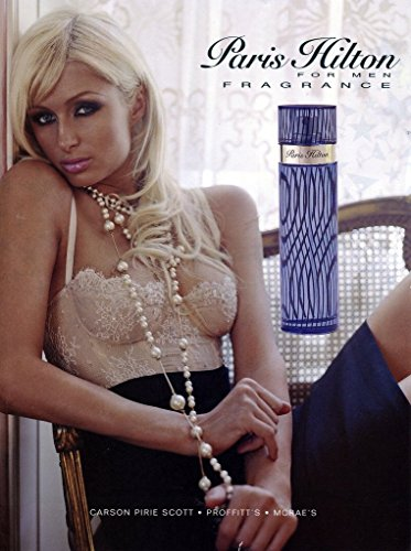 MAGAZINE ADVERTISEMENT With Paris Hilton In Nude Bustier: Fragrance For Men - Paris Bustier