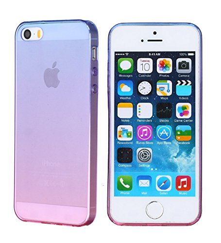 iPhone 5/5S/SE Case,JWCDirect Phone Case Slim Thin Colorful Gradient Soft TPU Shock Absorption Stylish Fashion Rubber Silicone Flexible Flim Clear Back Bumper Case for iPhone 5/5S/SE - Pink Gradient