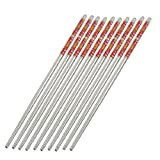 uxcell Stainless Steel Tapered Chinese Chopsticks Dishware 10 Pcs Silver Tone