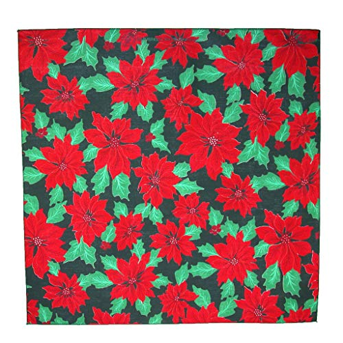 - Christmas Poinsettia Print Holiday Bandana, Black