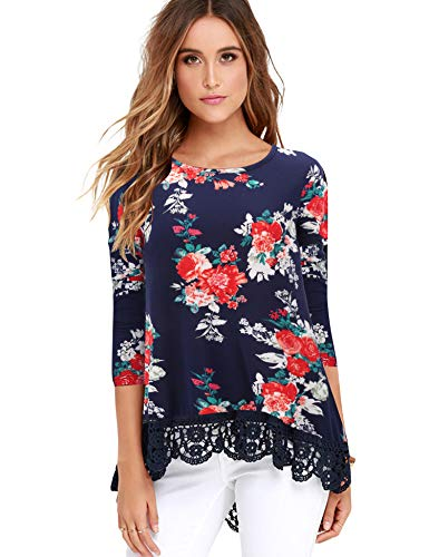 (FISOUL Tops Long Sleeve Lace Trim O-Neck A-Line Floral Printed Tunic Tops XXL NB)