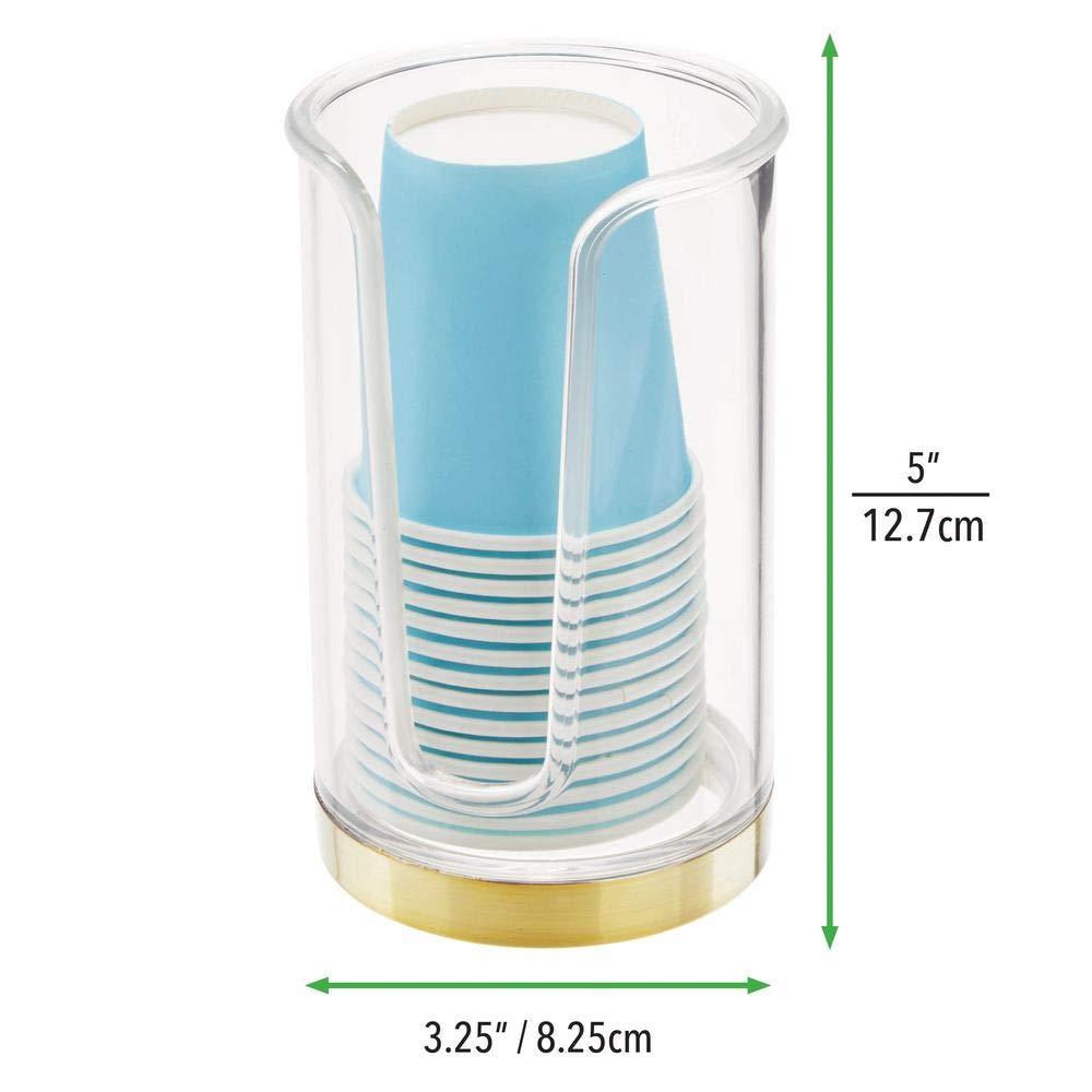 Portavasos con 14 Vasos incluidos para la higiene bucal MetroDecor mDesign Soporte para Vasos de Usar y Tirar Dispensadores de Vasos para Agua y Enjuague bucal Transparente y lat/ón