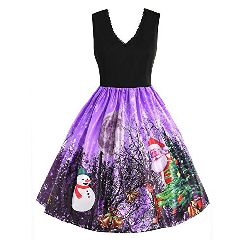 Women Fashion Santa Claus Sleeveless Christmas Snow Xmas Print Vintage Flare Dress