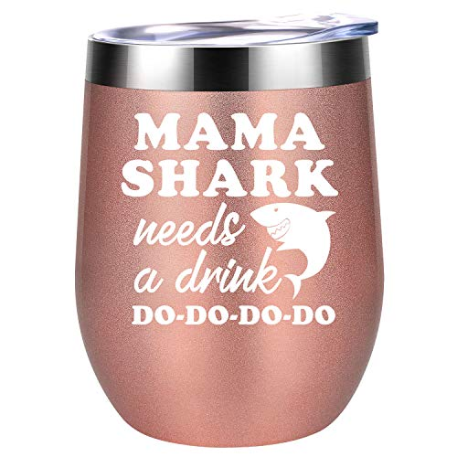 Mama Shark Needs a Drink Do Do - Mommy Shark Gifts for Mom Birthday - Funny Mom Shark 30th, 40th Bday Presents for New Mom, Best Mom, Wife from Daughter, Son, Husband - Coolife 12 oz Wine Tumbler Cup
