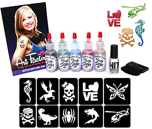 Glitter Shimmer Temporary Tattoo Party Kit 30 Tattoos - Water Proof Do It Yourself! by Ybody Glitter Tattoos