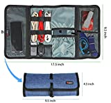 Valkit Cable Organizer, Travel Organizer, Best Electronics Accessories Wire Cord Cables Tires Wrap Case Cover Bags Rolling Organizer Can Fit Cosmetic For Weekender Travel Management, Large Size-Blue