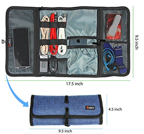 Valkit Cable Organizer, Travel Organizer, Best Electronics Accessories Wire Cord Cables Tires Wrap Case Cover Bags Rolling Organizer Can Fit Cosmetic For Weekender Travel Management, Large Size-Blue by Valkit