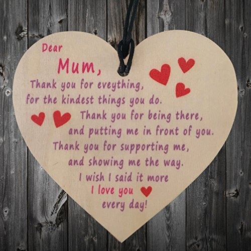 Dahama Mum I Love You Everyday Wooden Hanging Heart Plaque, Birthday Gift for Mum, Mothers Day Present Mum Drawstring