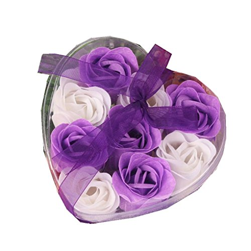 Lucoo 9Pcs Heart Scented Bath Body Petal Rose Flower Soap Wedding Decoration Gift Best For Christmas/Birthday/Valentine's day (Purple 2) (Godiva Chocolate Wedding Favors)