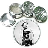 """63mm 2.5"""" 4 Pc Aluminum Sifter Magnetic Herb Grinder Marilyn Monroe Design-051"""