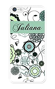 MMZ DIY PHONE CASEiZERCASE Personalized Blue and Light Green Floral Pattern RUBBER ipod touch 4 case - Fits ipod touch 4 T-Mobile, AT&T, Sprint, Verizon and International (White)