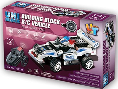 UniBlock Remote Controlled RC Building Block Police Car High Speed Chase Vehicles - Compatible With Lego Bricks (Police Car- 121pcs.)
