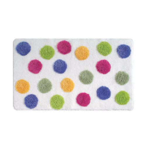 InterDesign Glee Bath Accent Rug, Polka Dot, Multi Color ()