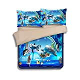 Dodou 3D digital printing underwater world Bedding Sets Soft and comfortable Bed Linens Bedding 100% polyester Duvet Cover Sets 3pcs (blue, Twin)