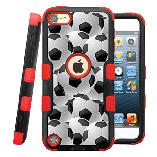 Casecreator TUFF Hybrid Rubber Hard Snap-on Case for iPod Touch 5th / 6th - Red Black Soccer Balls