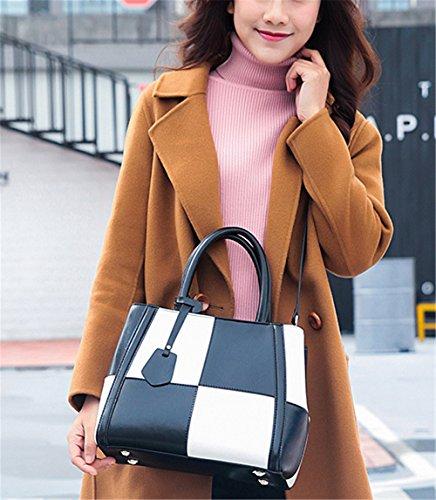 Bolsos de señora Xinmaoyuan golpeó el hombro de cuero de color de gran capacidad cruz oblicua Handbag,Rosa roja Negro