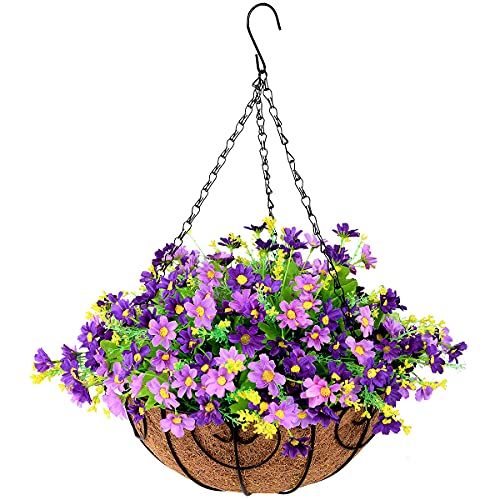 INQCMY Artificial Hanging Flowers in Basket for Patio Lawn Garden Decor,12 inch Coconut Lining Hanging Baskets with…